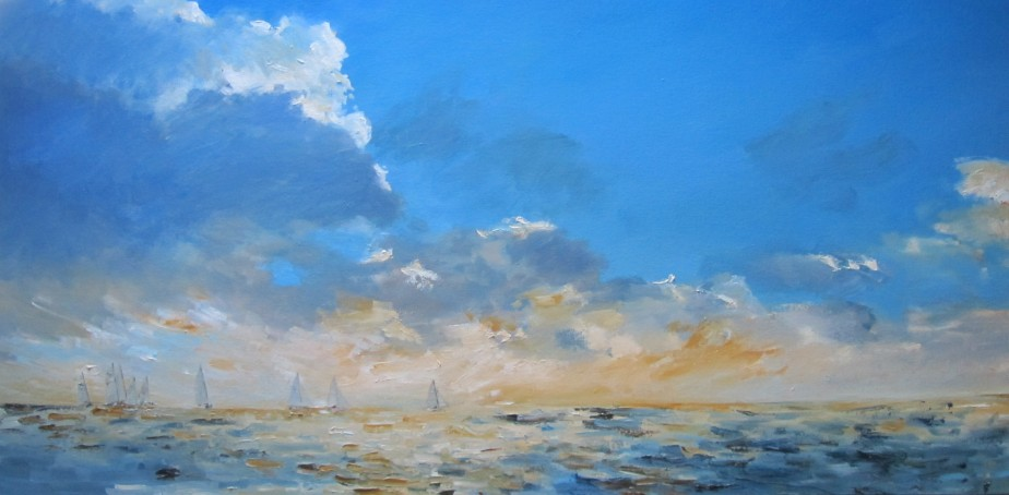 Fleet and setting sun - 50cm x 100cm