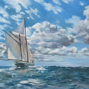 'In full sail' Irene - 100cm x 100cm