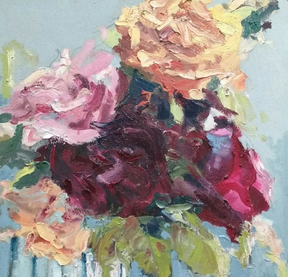 Roses from a friend - 30cm x 30cm